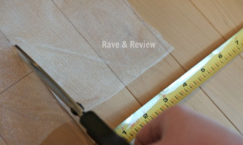 Cutting the tulle using the wood floors