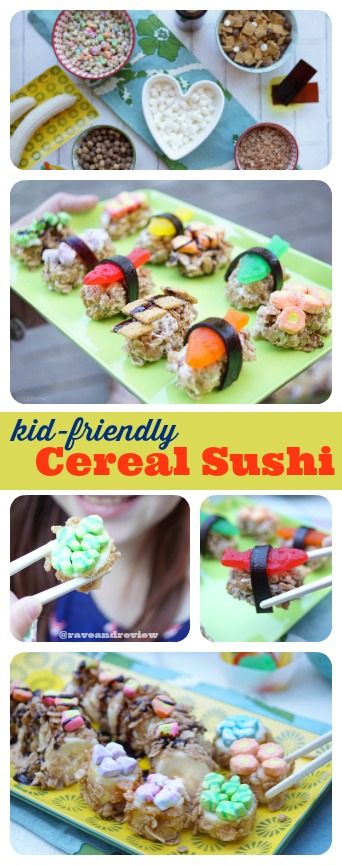 Kid friendly cereal sushi