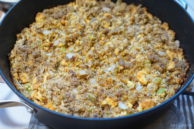 Cornbread stuffing with sausage in pan
